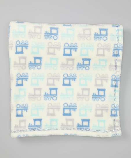 Blue Trains Plush Stroller Blanket