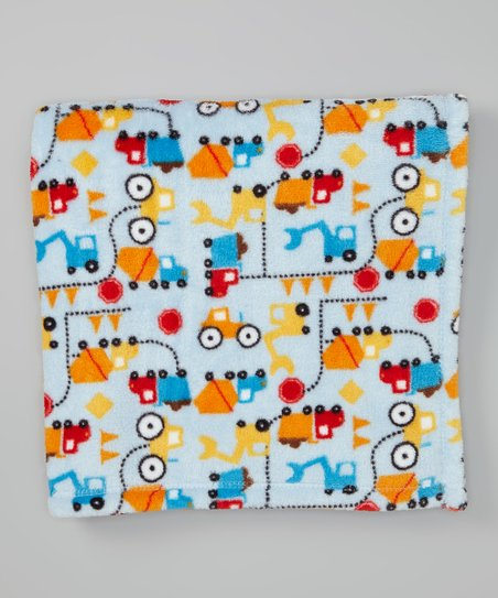 Blue Trucks Plush Stroller Blanket