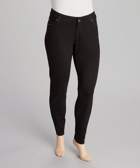 Black Ponte Skinny Jeans - Plus