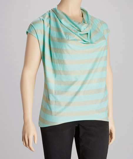 Mint Cowl Neck Sparkle Top - Plus