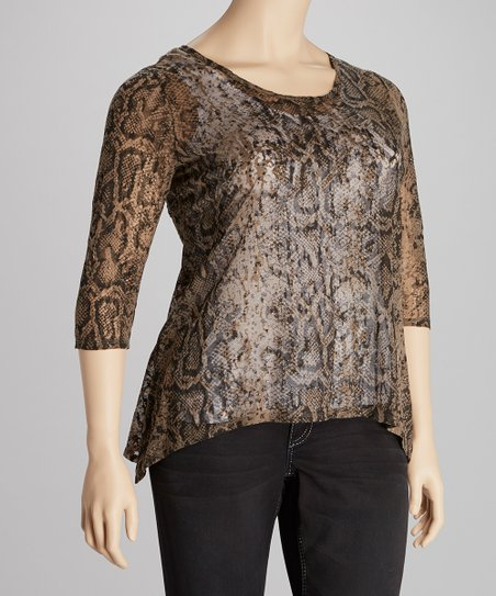 Chocolate Sheer Snakeskin Top - Plus