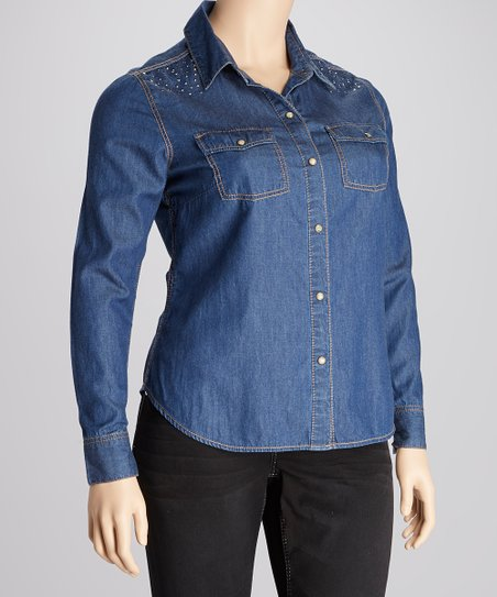 Blue Bayou Studded Button-Up - Plus