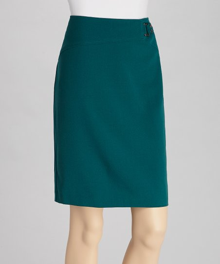 Teal Crepe Skirt