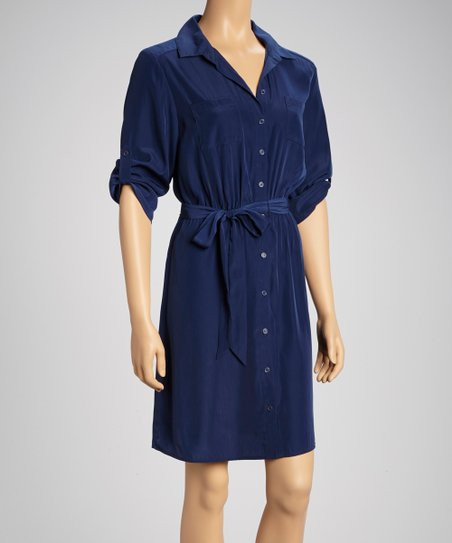 Navy Pocket Roll-Tab Sleeve Shirt Dress