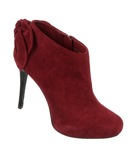 Berry Wine Suede Crown Bootie