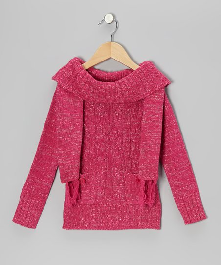Fuchsia Sparkle Marilyn Neck Sweater & Scarf - Girls