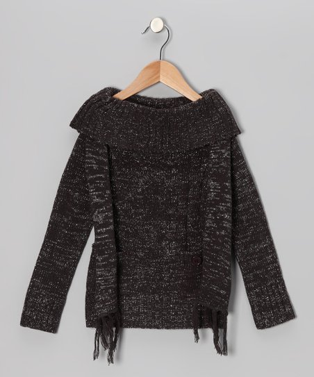 Gray Sparkle Marilyn Neck Sweater & Scarf - Girls