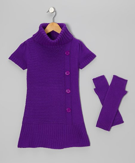 Purple Turtleneck Sweater & Arm Warmers - Girls
