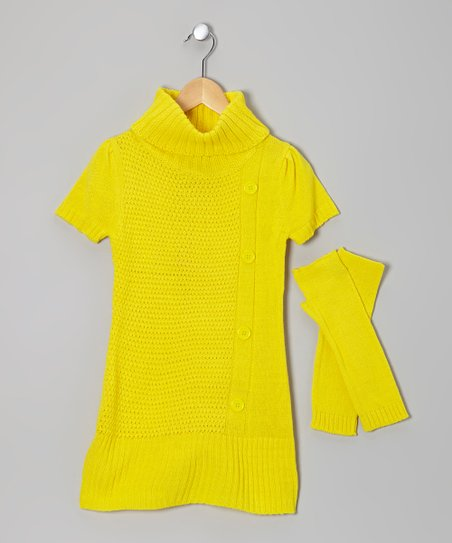 Yellow Turtleneck Sweater & Arm Warmers - Girls