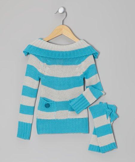 Teal & Gray Stripe Marilyn Neck Sweater & Arm Warmers - Girls