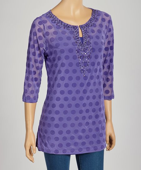 Purple Polka Dot Embellished Tunic & Camisole