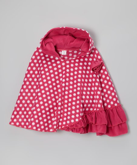 Royal Raspberry Polka Dot Fleece Poncho – Infant & Girls