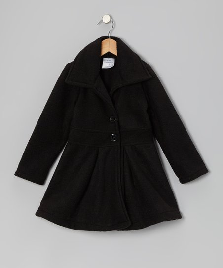 Black Button Coat – Infant, Toddler & Girls