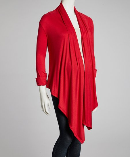 Red Maternity Open Cardigan
