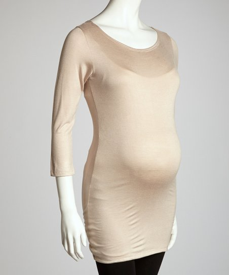 Khaki Maternity Long-Sleeve Tunic