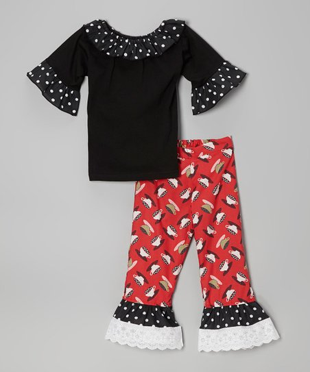 Black Ruffle Top & Red Teacup Pants - Infant, Toddler & Girls