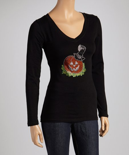 Black Jack-o'-Lantern V-Neck Long-Sleeve Tee - Women & Plus