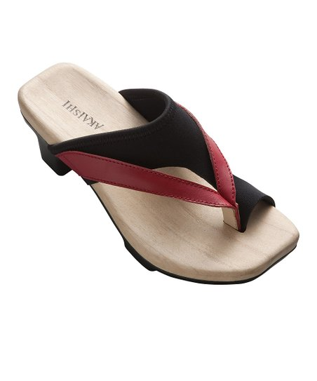 Black & Red Sakura Leather Sandal - Women