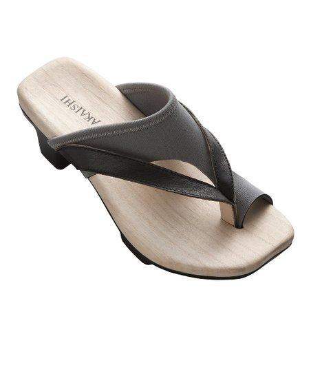 Black & Gray Sakura Leather Sandal – Women