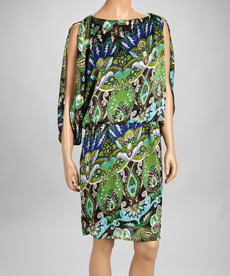 Green Abstract Floral Dress