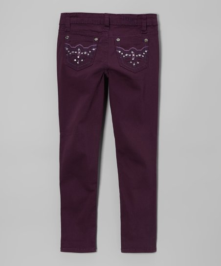 Plum Twill Pants - Girls