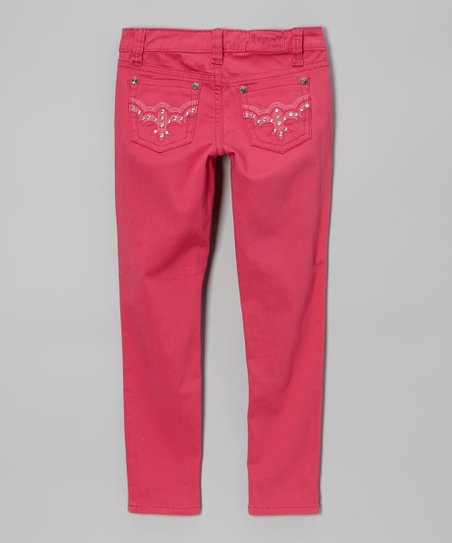 Deep Rose Twill Pants - Girls