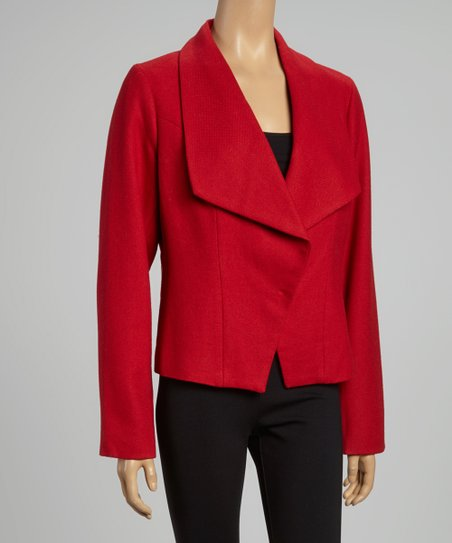 Red Wool-Blend Blazer