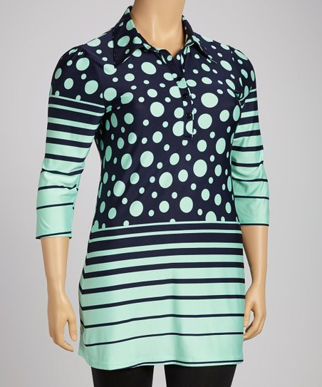 Teal & Navy Polka Dot Stripe Button-Up Dress - Plus