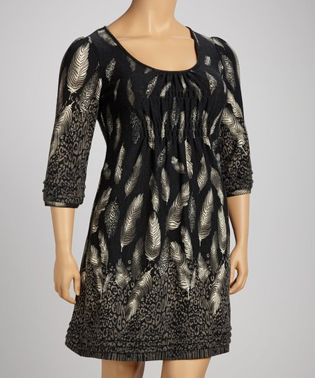 Charcoal Leopard Feather Shirred Empire-Waist Dress - Plus