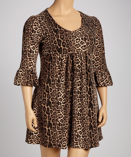 Brown Leopard Empire-Waist Dress - Plus
