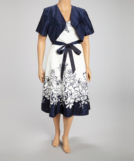 Navy & Ivory Floral Dress & Bolero - Plus