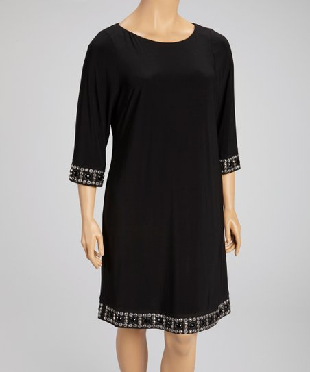 Black Embellished Trim Shift Dress - Women & Plus