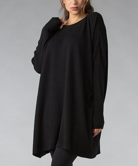 Black Ribbed Boatneck Tunic
