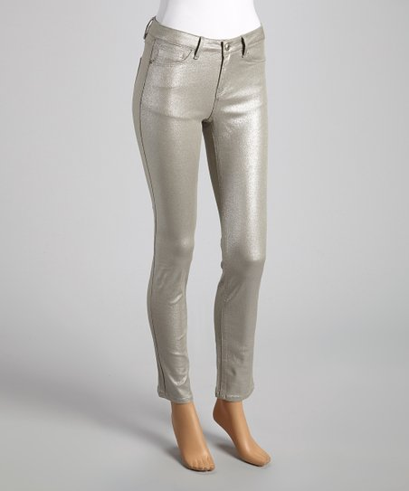 Silver Sheen Skinny Pants