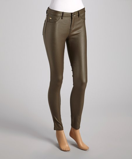 Olive Sheen Skinny Pants