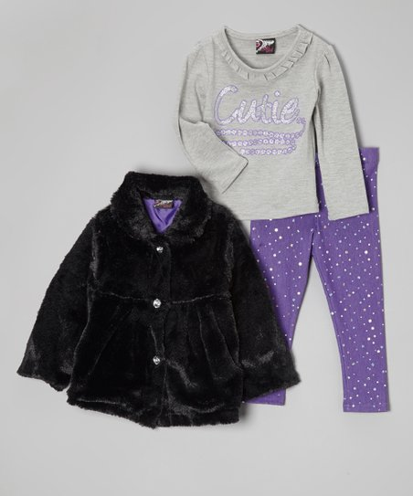 Gray & Black 'Cutie' Faux Fur Jacket Set - Infant & Toddler