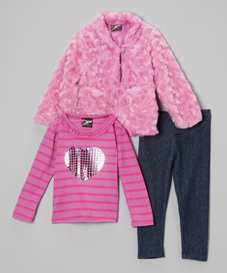 Fuchsia & Black Heart Faux Fur Jacket Set - Infant & Toddler