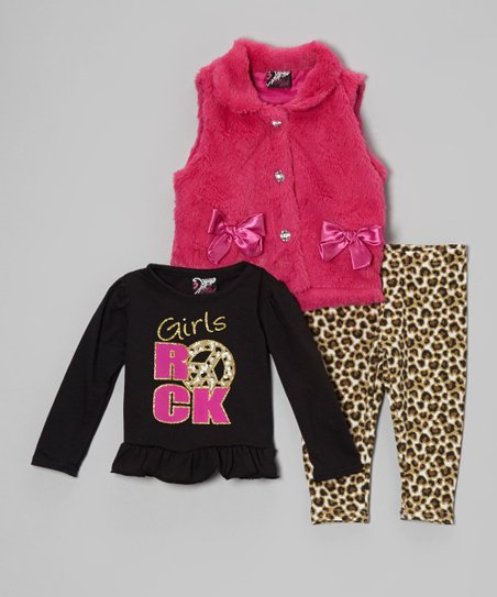 Pink & Brown Leopard Faux Fur Vest Set - Infant & Toddler
