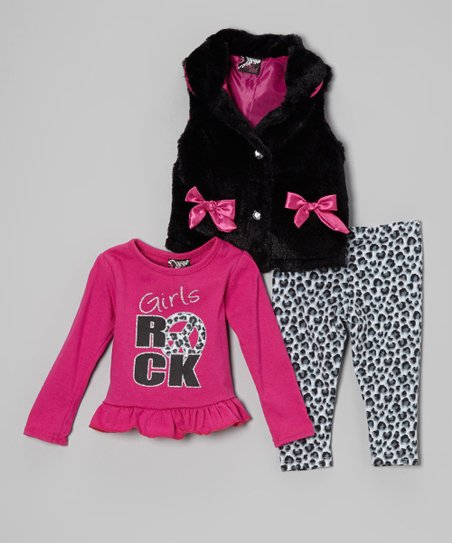 Black & Pink Leopard Faux Fur Vest Set - Infant & Toddler