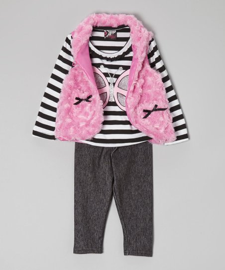 Black & Pink Butterfly Faux Fur Vest Set – Infant & Toddler