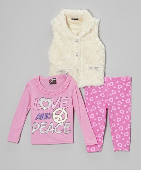 White & Pink 'Love' Faux Fur Vest Set - Infant & Toddler