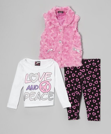 Pink & White 'Love' Faux Fur Vest Set - Infant & Toddler