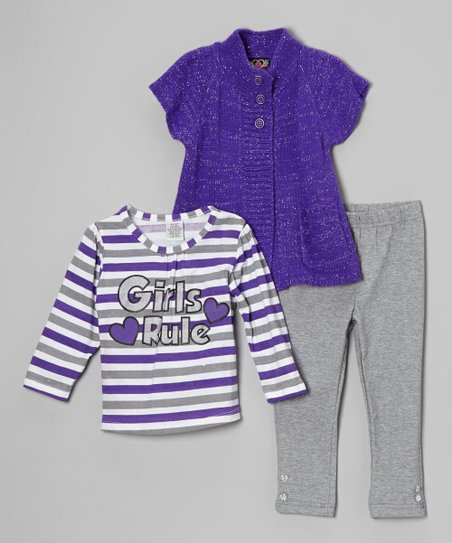 Purple Stripe 'Girls Rule' Top Set - Infant, Toddler & Girls
