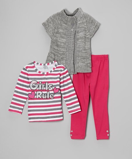 Gray Stripe 'Girls Rule' Top Set - Infant, Toddler & Girls