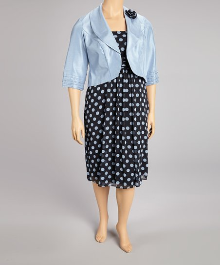 Baby Blue Polka Dot Dress & Jacket - Plus