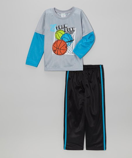 Silver 'Slam Dunk' Layered Top & Track Pants - Toddler