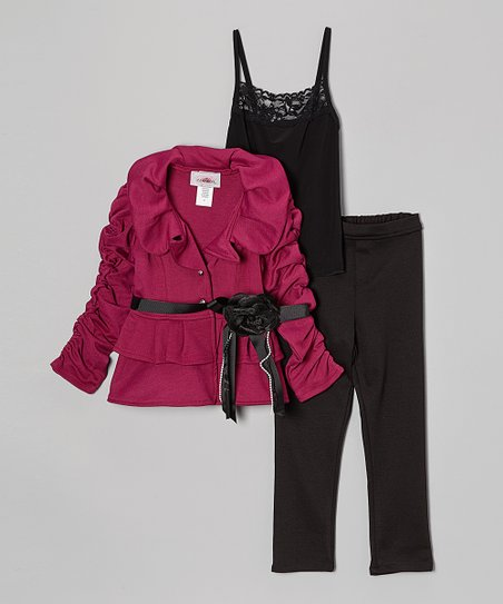 Magenta & Black Ruffle Pants Set - Toddler & Girls