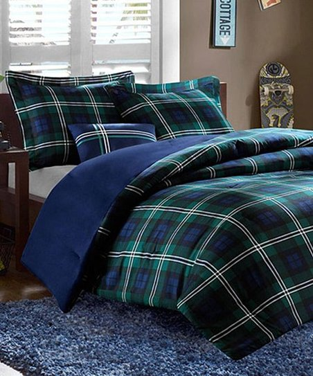Blue & Green Plaid Brynn Comforter Set
