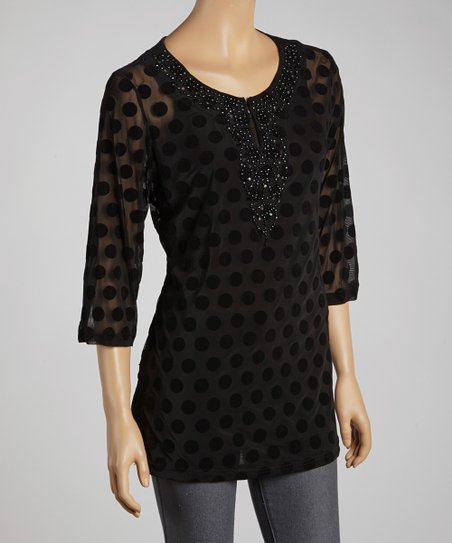 Black Polka Dot Embellished Tunic