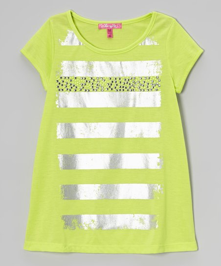 Bright Apple Green Metallic Stripe Top - Girls